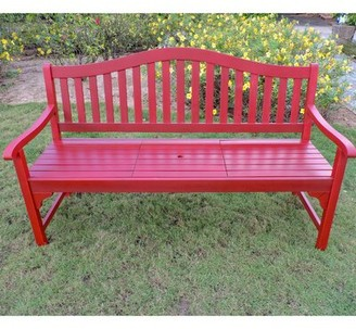 Leone Wooden Garden Bench Breakwater Bay Color: Barn Red