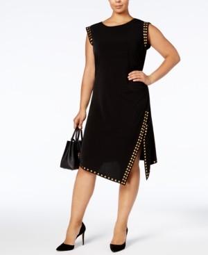 Michael Kors Michael Plus Size Studded Asymmetrical-Hem Dress