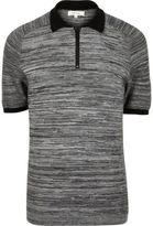 River Island MensGrey textured zip-up polo shirt