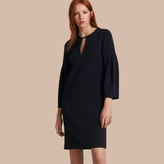 Burberry Puff-sleeved Satin-back Crepe Shift Dress