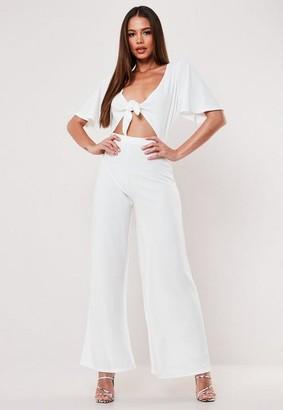 Missguided Petite White Cut Out Kimono Sleeve Romper