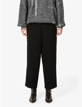 Y's Patch-pocket high-rise wool trousers
