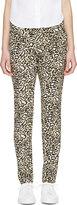 Stella McCartney Black & White Silk Leoapard Trousers