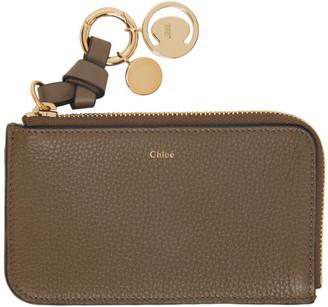 Chloé Khaki Alphabet Zip Around Card Holder