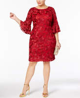 Alex Evenings Plus Size Embroidered Bell-Sleeve Dress
