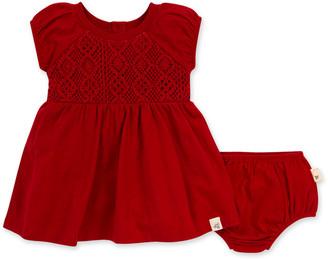 Burt's Bees Hand Crochet Organic Baby Red Dress & Diaper Cover Set