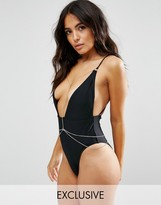 Wolfwhistle Wolf & Whistle Plunge Swimsuit With Removable Chain