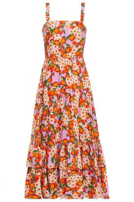 Borgo de Nor Daniela Floral-print Cotton-poplin Midi Dress