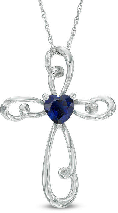 Zales 5.0mm Heart-Shaped Lab-Created Blue Sapphire Cross Pendant in 10K White Gold