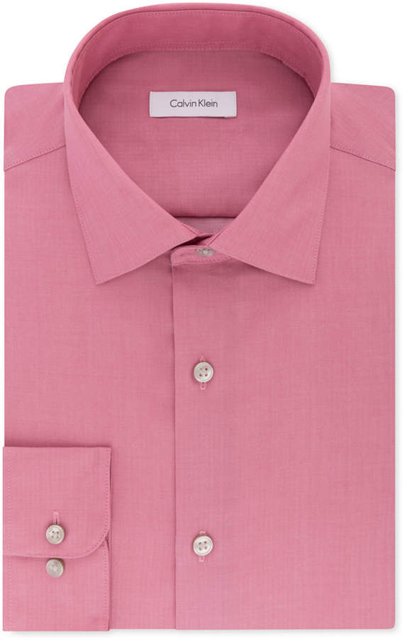 Calvin Klein Steel Men Classic-Fit Non-Iron Performance Herringbone Spread Collar Dress Shirt