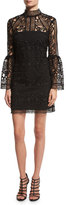 Rachel Gilbert Crocheted Lace Mock-Neck Cocktail Dress, Black