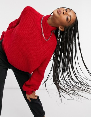 Noisy May ribbed jumper in red