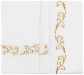 Hamburg House Tuscany Sheet Set, White With Gold Embroidery, King