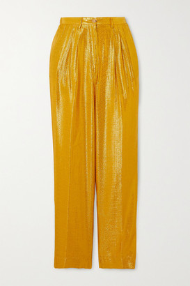 Forte Forte Cropped Metallic Jacquard Tapered Pants - Gold