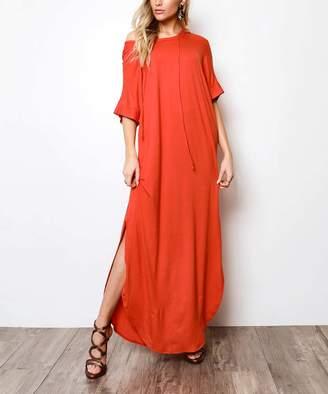 Milly Penzance Women's Casual Dresses Dark - Dark Orange Hooded Maxi Dress - Women & Plus