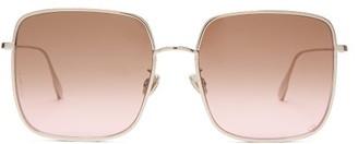 Christian Dior Diorbydior Chain-edge Square Metal Sunglasses - Womens - Pink Multi