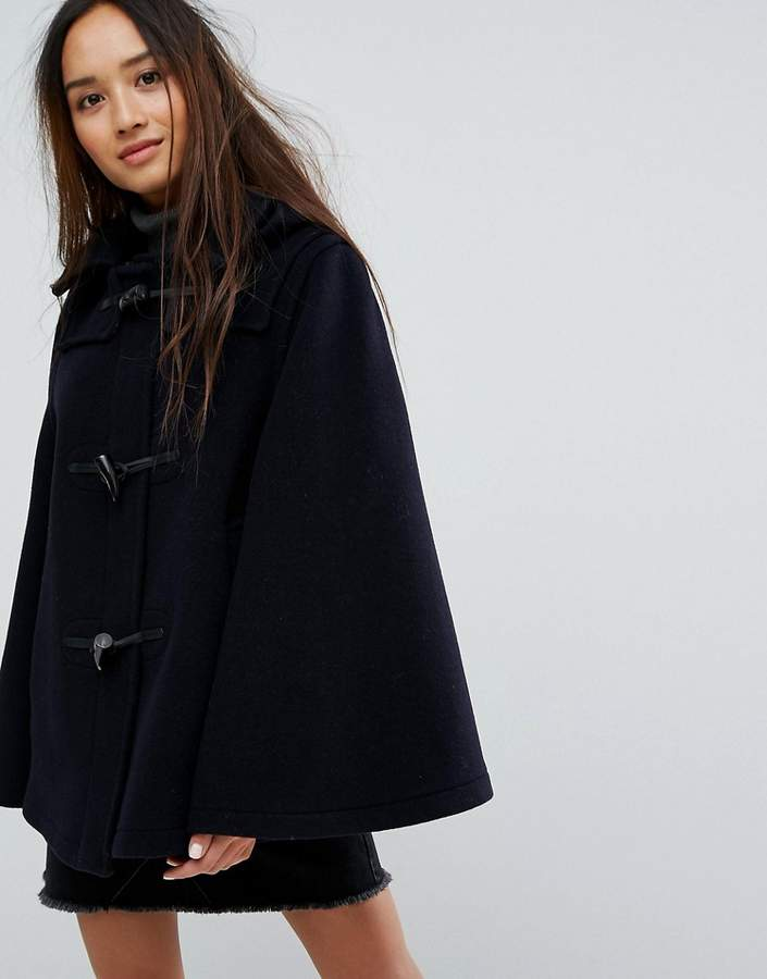 Gloverall Wool Blend Duffle Cape with Detachable Hood