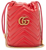 Gucci GG Marmont Leather Bucket Bag - Womens - Red