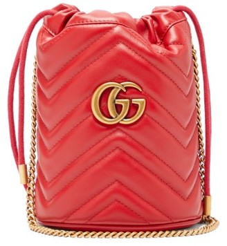 Gucci GG Marmont Leather Bucket Bag - Red