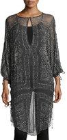 Haute Hippie The Rhiannon Silk Embellished Tunic, Gray Multi