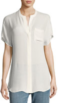 Vince Short-Sleeve Silk Popover Top, Off White