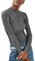 Topshop Women's Textured Stripe Mock Neck Sweater