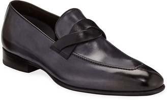 Tom Ford Men's Twist-Front Leather Loafers