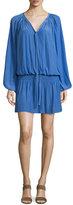 Ramy Brook Paris Bishop-Sleeve Split-Neck Mini Dress, Tiger Lily