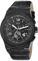 Esprit Phorcys Men's Quartz Watch with Black Dial Chronograph Display and Black Leather Strap EL101811F04