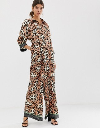 Liquorish wide leg jumpsuit in leopard print with neon green contrast