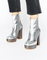 Terry De Havilland Silver Metallic Leather Mega Platform Ankle Boots