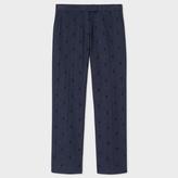 Paul Smith Women's Slim-Fit Navy Herringbone Trousers With Flocked Polka Dots