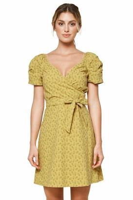 Sugar Lips Sugarlips Women's Hawaiian Pineapple Print Puff Sleeve Mini Dress