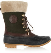 Tory Burch Shearling-Trimmed Felt, Leather And Rubber Boots