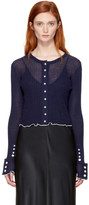 3.1 Phillip Lim Navy Rib Cropped Cardigan