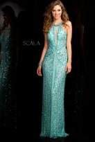 Scala 48696 Illusion Neckline Sequin Prom Dress
