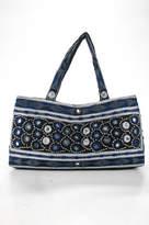 Moyna Black Blue Canvas Embroidered Beaded Satchel Handbag