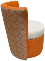 Somers Furniture Cool, Calm, Composed Outdoor Swivel Dining Chair in Orange/White