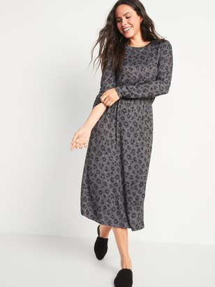 Old Navy Waist-Defined Long-Sleeve Midi T-Shirt Dress for Women