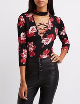 Charlotte Russe Floral Lattice Mock Neck Bodysuit