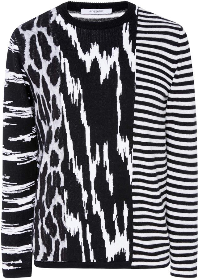 Givenchy Animal Striped Crewneck Sweater