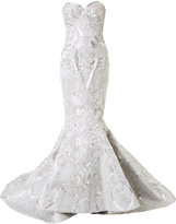 Mikael D. strapless beaded fishtail gown