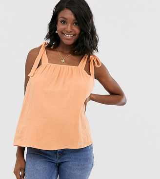 Asos DESIGN Maternity sun top with tie shoulder in textured casual fabric