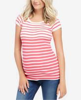 Motherhood Maternity Striped Short-Sleeve Sweater
