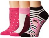 Kate Spade Stripe Monkey 3-Pack No Show Women's No Show Socks Shoes