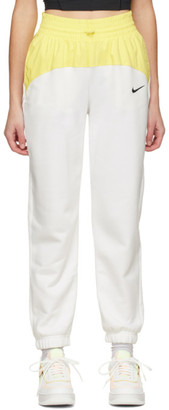 Nike White and Yellow Sportswear Icon Clash Lounge Pants