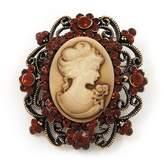 Avalaya Antique Amber Coloured Diamante 'Cameo' Brooch - 4.5cm Length