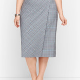 Talbots Springtime Plaid Pencil Faux Wrap Skirt