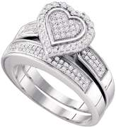 GemApex Diamond Heart Engagement Ring & Wedding Band Set Sterling Silver Love Bridal Set Round Cluster 3/8 ctw