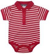 Jo-Jo JoJo Maman Bebe Striped Polo Bodiysuit (Baby)-Red/Ecru-0-3 Months